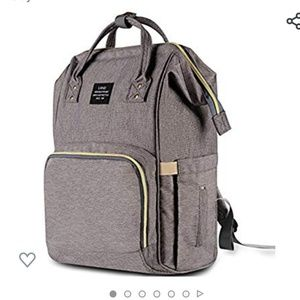 Handbags - NWT Baby Diaper Bag Backpack Gray wide mouth